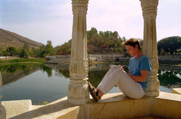 Pages d'écritures près du Saijan Niwas garden